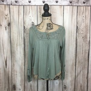 Anthropologie Knit Top Tassels Button Sleeve Large